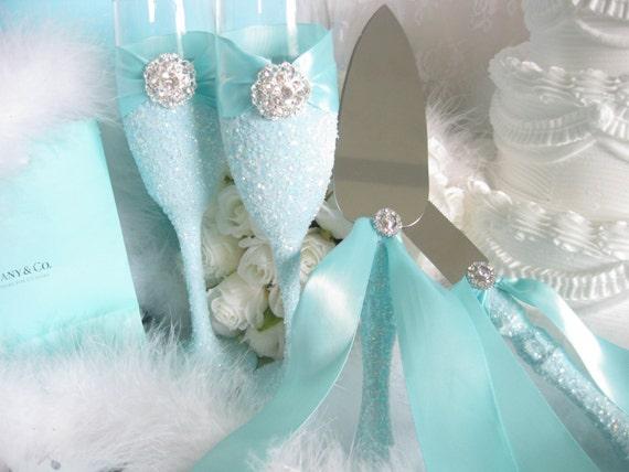 tiffany blue wedding flutes cake knife set