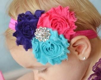 Hot pink purple & turquoise Headband  Newborn Baby and Toddler girl hair bow shabby chic