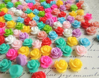 250 resin flower cabochons mixed colors