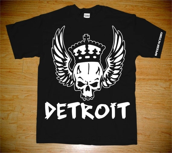 Items similar to detroitspeedfactory wingedskull t shirt for Custom t shirts detroit