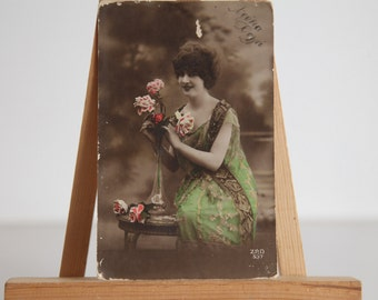 Antique Hand Painted 1920 Postcard. Made in France