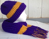 Purple and Gold Team Spirit Hat and Scarf Set