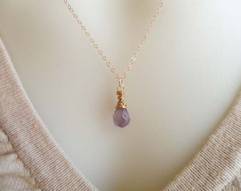 Amethyst  Necklace, Amethyst Wire Wrapped Necklace,14Kt Gold Amethyst Necklace, Amethyst Tear Drop, Donna J Jewelry