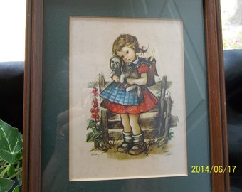 Hilde Groven Matted Framed Picture of German Girl with a Dog