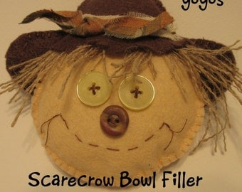 BOWL FILLERS, SCARECROWS, Set of Two, Summer, Fall, Autumn, Home, Cottage, Country Décor, Rustic Accessory, Ornament, Tucks, Hostess Gift