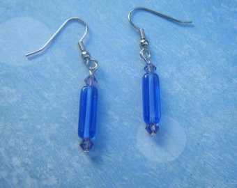 Blue and Purple Beaded Earrings.