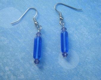Blue and Purple Beaded Earrings.