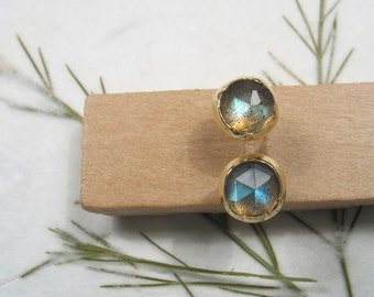 5 mm rose cut Labradorite, solid 9k yellow gold studs earrings, Mother day earrings