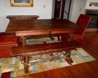 Rustic Red Pine Dining Table and bench set Log Cabin Adirondack Furniture by J. Wade,