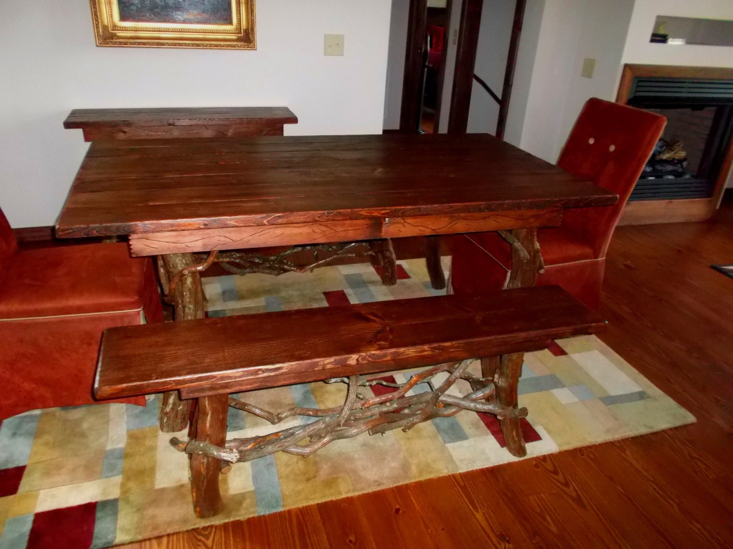 Rustic Red Pine Dining Table And Bench Set Log By BlueRidgeRustics