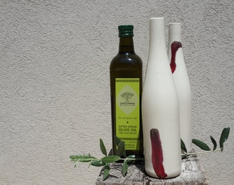 Ceramic Bottle with a Red Drop - Decorative and Functional  White Glazed