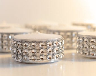 Large Tealight Silver Bling Candles Rhinestone Diamond Wedding or Party Tealights 50 Pc Lot