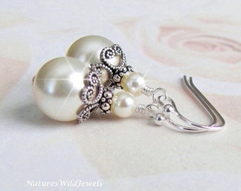 Bridal Pearl Earrings,  Antique Style Earrings, Vintage Inspired Bridal Earrings, Bridesmaids, Every Day, in White or Ivory, Sterling Silver