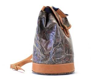 Vtg 90s Paisley PVC Vinyl Grunge Leather Ethnic Bucket  Backpack Rucksack