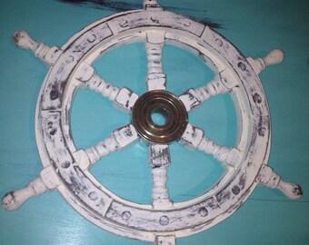 18 Inch Wooden Ship Wheel Old White Distressed Nautical Beach Decor Nursery