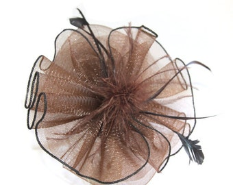 Brown Headband Fascinator accented with feathers