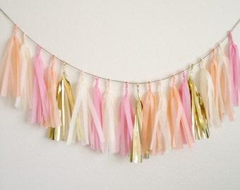 PEACH KISS - Tissue Paper Tassel Garland  - Party - Wedding - Baby Shower - Nursery