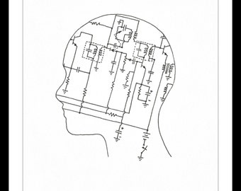 "Black and White Art Print: ""Technically Minded"" - Pen and Ink line drawing of a head that has an engineering diagram in the middle. A5"