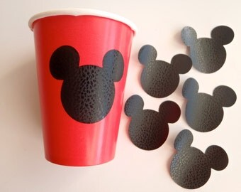 12 Vinyl Cup Stickers Decals / for 9oz. cup / Mouse Ears Theme Birthday Party SHIPS FAST by FeistyFarmersWife