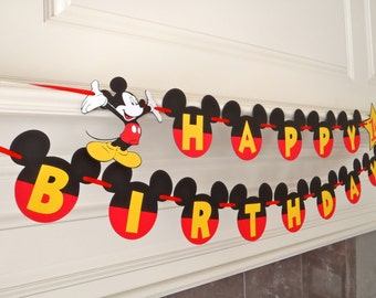 Mickey Mouse Happy Birthday Banner with Yellow Letters Age and Mickey Cutout by FeistyFarmersWife