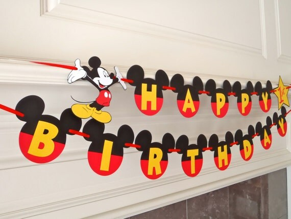 Mickey Mouse Happy Birthday Banner with Yellow Letters Age and