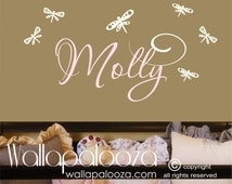 Girls Name Wall Decal - Childrens Wall Decals - Personalized Name Vinyl Wall Art- Dragonfly Decal
