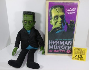 1960's Mattell Herman Munster Talking puppet and box