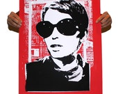 """Mia #3, two color screen print poster 24"""" x 36"""""""