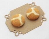 Button Earrings Fabric Button Stud Earrings - Giraffe Print - Button Earrings - Hypoallergenic Earrings