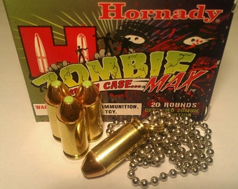 "Replica .40 S&W bullet Pendant Necklace With Hornady Zombie Max Bullet And 24"" Dog Tag Chain"