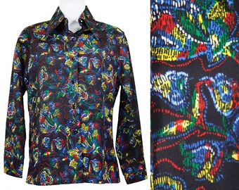 Vintage 70's KMART 100% Polyester Funky Multi Colored Floral Disco Blouse Size 32