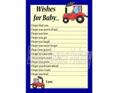 Tractor Theme Baby Shower Game, Tractor Wishes for Baby Game, Farm Theme Baby Shower Game, Red Tractor Baby Shower, Printable Baby Wish Card