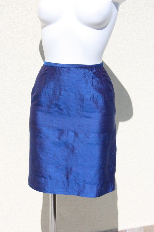 dupioni silk skirt cobalt blue made in by