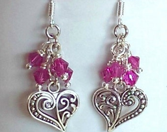Pink heart crystal cluster earrings handmade by Toads Lily Pond Jewelry