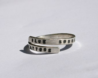Joni Mitchell Silver Lyric Ring 'Blue Songs are like Tattoos' Handstamped Sterling Silver -Adjustable