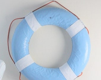 lifesaving appliance- saving ring- beach- vintage for surviving- light blue painted home decor
