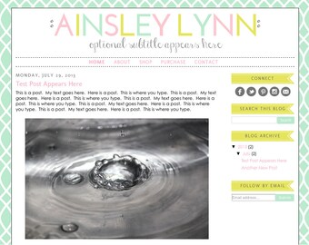 Blogger Template Premade Blog Design Theme - Ainsley Lynn - INSTALLATION INCLUDED - Responsive, Pastel, Pink, Yellow, Mint, Colorful, Simple