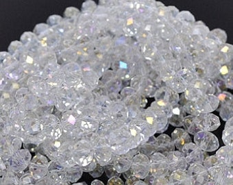 150pcs* 3x4mm Clear Ab Crystals Beads 4mm Transparent AB Rondelles Like 4x3mm CRYSTAL AB Swarovski #5040 A Grade Diy Jewelry Beading Supplie