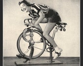 Spinning Class Fridge Magnet vintage image of a Woman on an exercise bike bicycle gym fitness
