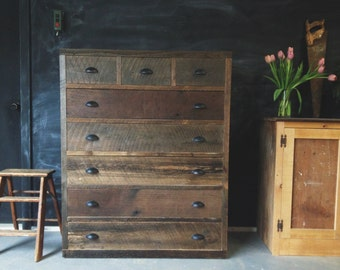 Rustic Modern Reclaimed Barn Pallet Wood Dresser Vintage Antique Style Storage