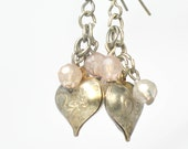 Vintage Heart Earrings, Dangle, Pink Beads, Sweet and Charming, Filigree