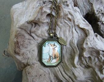 Tiny original Red Fox necklace Hand painted original art