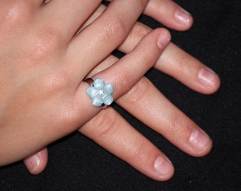Little Girl Adjustable Ring - Adorable Sparkly Glitter Flowers - Choose Color!