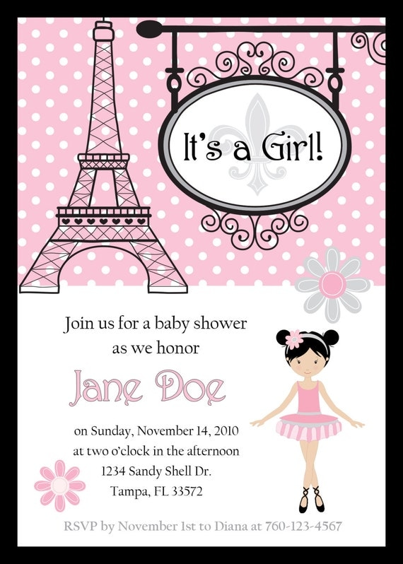 paris ballerina baby shower invitation digital image