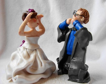 Custom  Wedding Cake Topper, Bride  and Groom Figurine, Polymer Clay Cake Topper.  A Hand Crafted Art Sculpture.