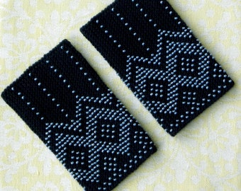 Deep blue beaded wrist warmers