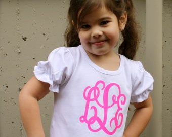 Monogrammed Girls Ruffle Shirt available in sizes 6/9M-8