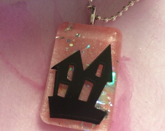 Halloween Haunted House Confetti Lucite Necklace