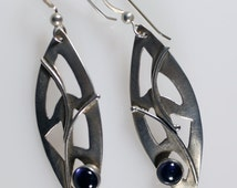 Artisan Silver Amethyst Earrings, Vintage Arts & Crafts Style Sterling Silver Amethyst Earrings