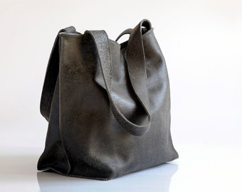 Black Leather Bag - Soft Leather Tote Bag - EveryDay Bag - Women Leather Bag - Leather Tote - Shiri Bag / Distressed Black